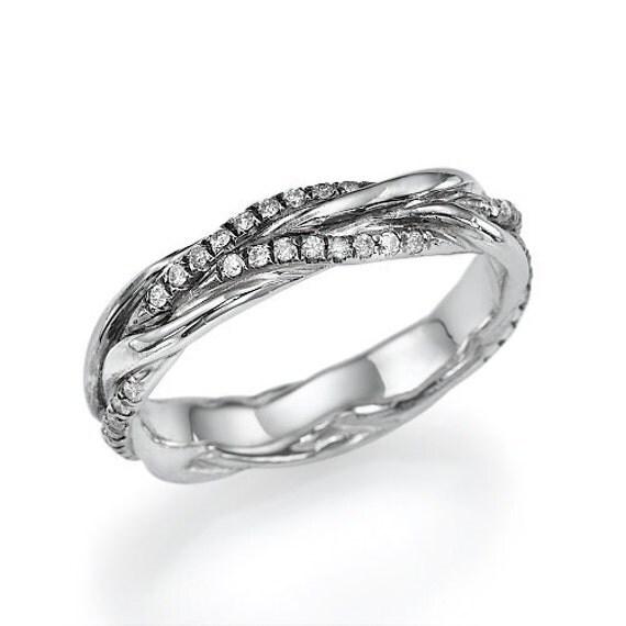 Items Similar To Antique Style Diamond Wedding Ring In 14k White Gold On Etsy