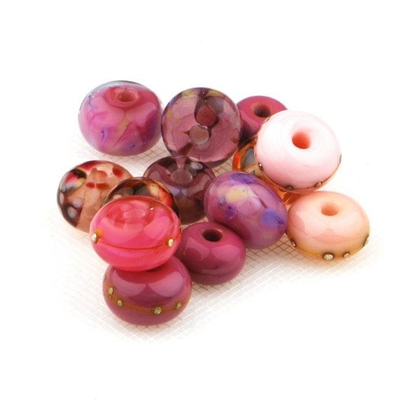Lampwork glass bead set  (13)  -  Soft Summer Lavender Pink - UK SRA
