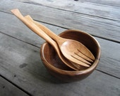 Wooden Salad Stove Spoon and Fork Utensils 11 inches