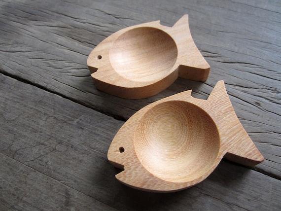 Set of 2 WOODEN Dip Sauce Small Bowls FISH pattern