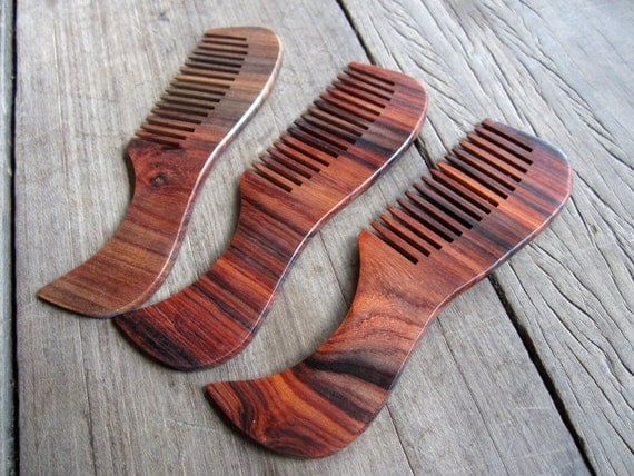 Wooden Hair Comb comfortable size Smooth Long Handle dark color