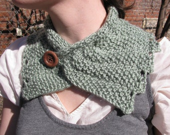 Knit Lace Wrap Cowl--in green heather with wood button