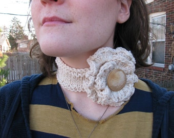 Knit Rose Cowl / Collar--in oatmeal cotton with wood button