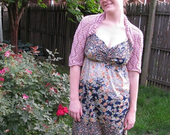 Leaf Lace Shrug / Sleeves--in rose cotton