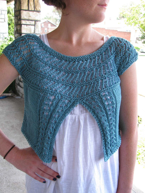Lace Yoke Knitting Pattern : Lace Yoke Cap Sleeve Cardi PatternPDF