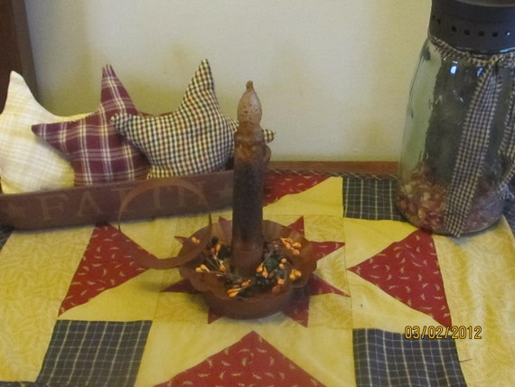 Primitive led candle and holder