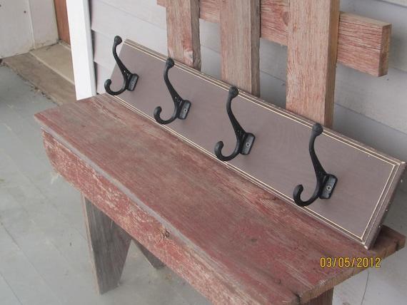 Distressed brown wood coat hanger