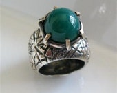 SALE Ready to Ship Size 7 (US)- Statement Ring - One of A Kind Sterling Silver Green Dome Mountain Ring