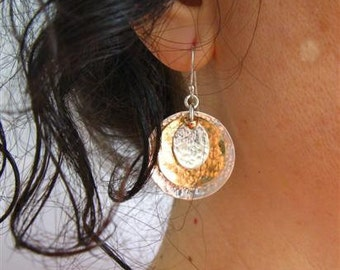 Statement Hoops. Sterling Silver and Gold Filled Hammered Disc Earrings. Handmade Jewelry. Eco Friendly Earrings