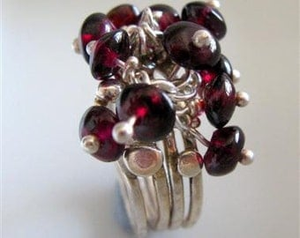 Spring Bouquet of Garnet on Sterling Silver Stacking Ring - By Amallias