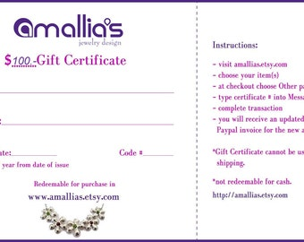 Gift Certificate - Amallias Gift Certificate -100