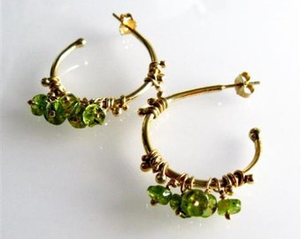 Statement Hoops Earrings. 18K Gold Plated Gipsy Dewdrop and Green Agates Earrings. Handmade Jewelry. Gold Gipsy Earrings