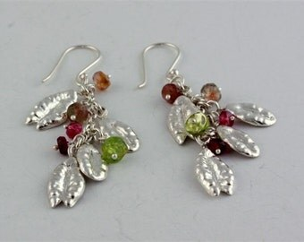 Special Wheat Charm Earrings with Tourmalines