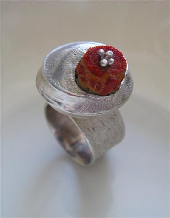 Special Sale - Handmade Jewelry - Statement Cocktail Ring - One of A Kind Sterling Silver Ring with Natural Coral - Size 7.5 Ready to Ship