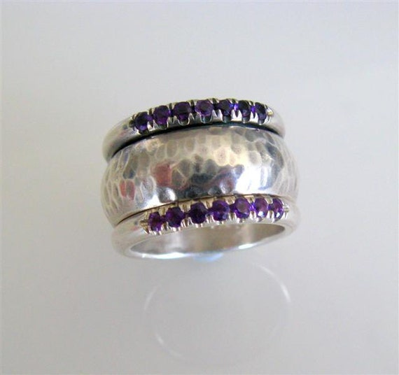 Engagement Ring - OOAK Swinging Bold Ring with Double Rows of Amethysts -Handmade Jewelry - Size 7.5 Ready to Ship