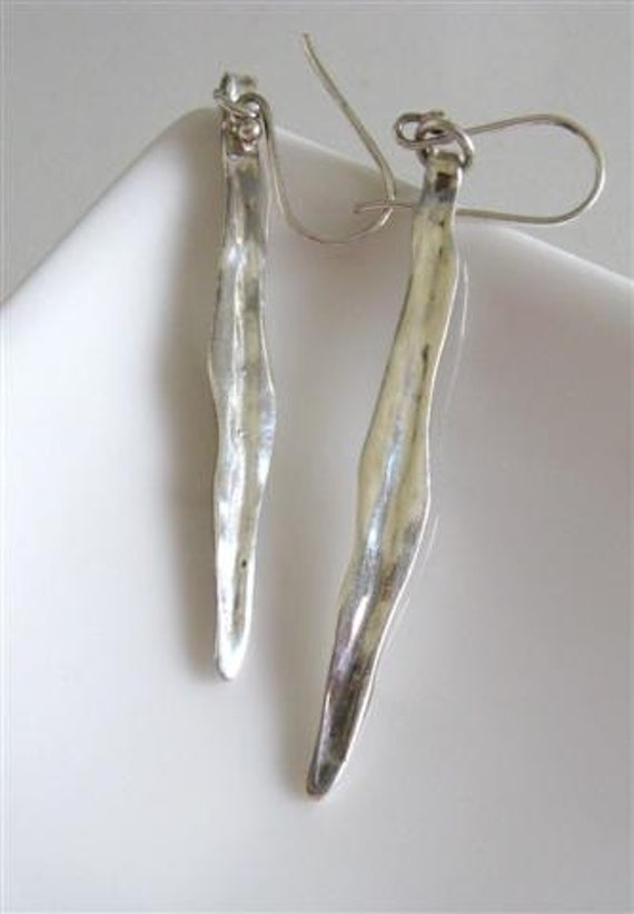 Sterling Silver Wheat Leaves Earrings // Eco friendly jewelry // Handmade by Amallias