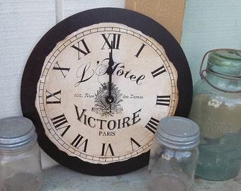 "France | Fench | French Clock | Paris Clock | Paris | Country | Shabby | Chic Style Clock | 12"" x 12"" | Clock | Kitchen Clock | Wall Decor"