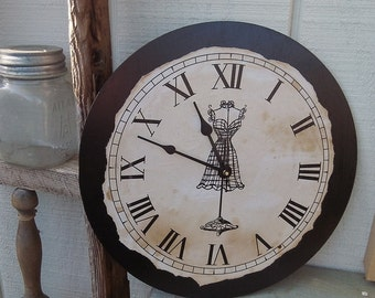 "Vintage Country Style Clock with French Wire Dress Frame, 12"" x 12"""