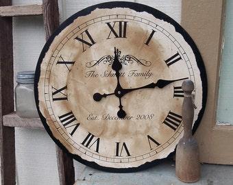 Clock | Handmade Clock | Vintage Style Clock | Personalized Clock | Wedding Gift | Kitchen Clock |  Unique Clock |