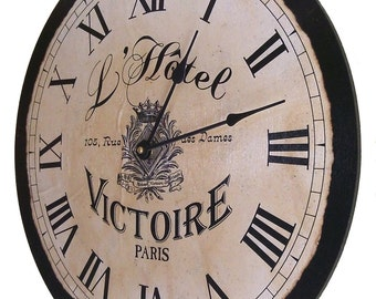 """Large French, Paris L'Hotel Victoire Vintage, Country, Shabby, Chic Clock 18"""" X 18"""""""