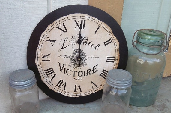 "France | Fench | French Clock | Paris Clock | Paris | Country | Shabby | Chic Style Clock | 12"" x 12"" 