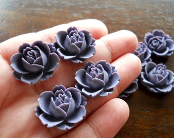 4 Lavender Violet Rose Resin 20mm Cabochons