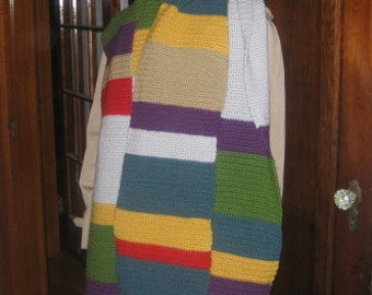Dr. Who Keeps on Growing Longer and Longer Crocheted Acrylic Scarf, Ready to Ship