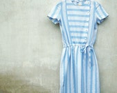 Vintage Powder Blue and White Woven Stripe Drawstring Dress