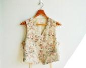 Vintage Beige Sweet Floral Printed Vest Top