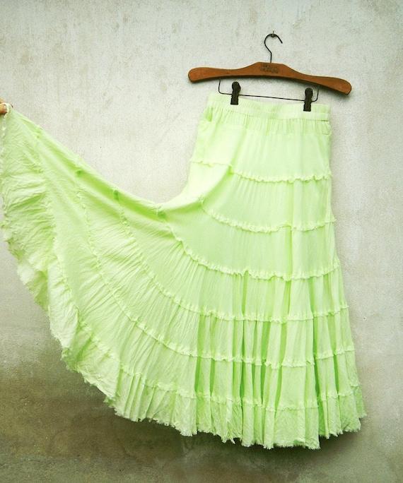 Lime Green Crinkle Soft Ruffle Boho Peasant Maxi Skirt / Dress DEAD STOCK