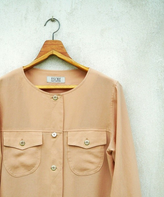 Vintage Peach Blush Crepe Long Sleeve Top