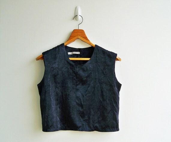 Vintage Wrinkle Black Velvet Sleeveless CropTop