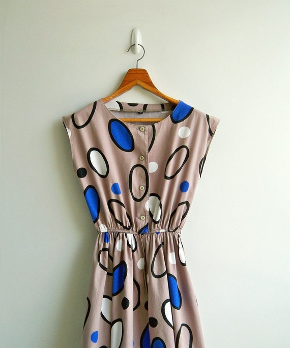 Vintage Taupe Oval Graphic Printed Cap Sleeves Elastic Waist Dress