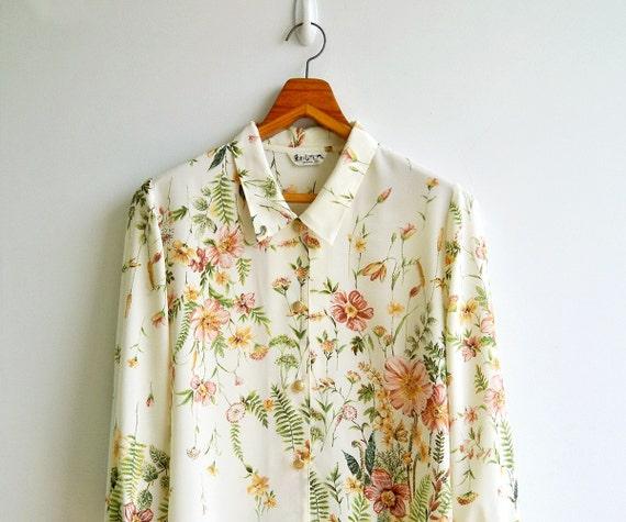 Vintage Ivory Spring Florals Blossom Printed Long Sleeved Silky Shirt