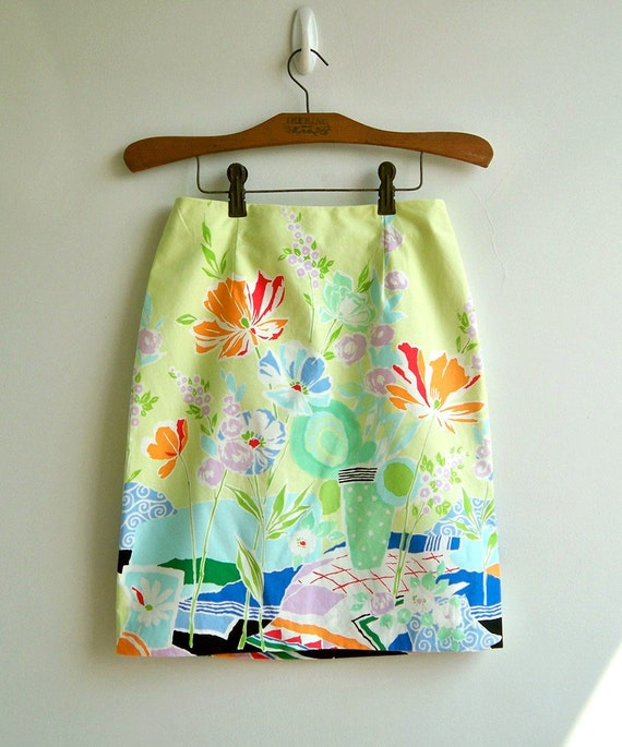 RESERVED For Michelle Swanson -Vintage Lime Green Sweet Summer Printed Narrow Skirt SMALL