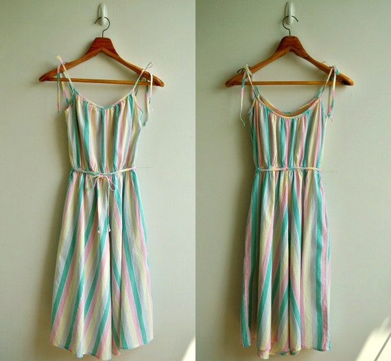 Vintage Pastel Rainbow Woven Stripe Elastic Waist  Strappy Sun Dress SMALL