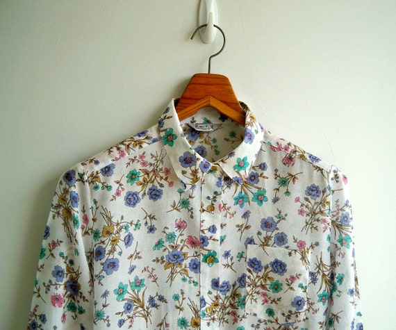 Vintage Lilac Pink and Mint Green Wild Flower Printed Long Sleeves Shirt