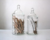 Vintage Etched Apothecary Jars