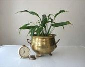 Vintage Brass Lion Head Planter