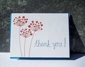 Letterpress Thank You Card - Thank You -  Red Berry - Thank you notecard - blue - red - nature - handwriting - script