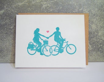 Letterpress engagement card - Bike Love Pair  - Letterpress - Valentine - Love - Bike - Greeting Card - engagement - wedding