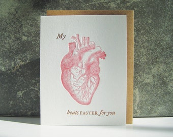 My heart beats FASTER for you Letterpress card - valentine's day - heart - anatomy - love -crush -  doctor - valentine card