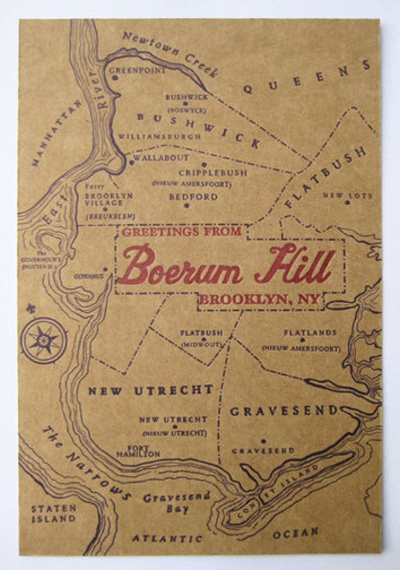 Greetings from Boerum Hill, Brooklyn, NY - Letterpress Postcard