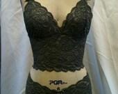 Grey stretch lace cami/boyshort set