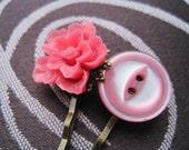 SALE - Spring cutie - vintage button and sakura flower bobby pins
