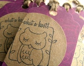 Owl tags - Purple tags, eggplant - What a hoot - thank you tags, gift tags - raw twine, kraft paper - Shabby chic, collage - set of 8