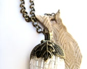Acorn necklace - abstract owl, woodland lariat - pottery necklace, ceramic - white, tan, natural, vintage bead - fall, autumn
