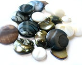 Pearl discs - pearl beads - Mother of pearl, freshwater pearl - Pearl mix - grey, brown, green, white