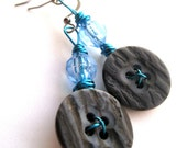 Button earrings - Blue earrings - button jewelry, Vintage, vintage buttons - Light blue crystals, wirewrapping
