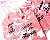 Gift tags - Made with love tags pink, ribbon - ROSES, flower, garden, romance - pink tags - thank you tags - handstamped - set of 10